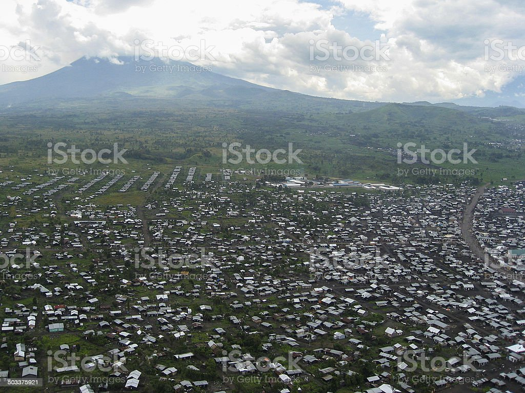 Large Refugee camp near Goma Republic of Congo and Volcano stock photo
