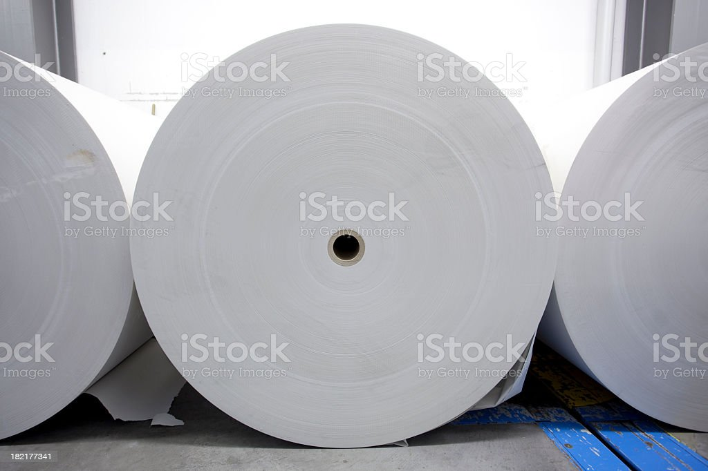 Large rolls of white printing paper for the Press stock photo