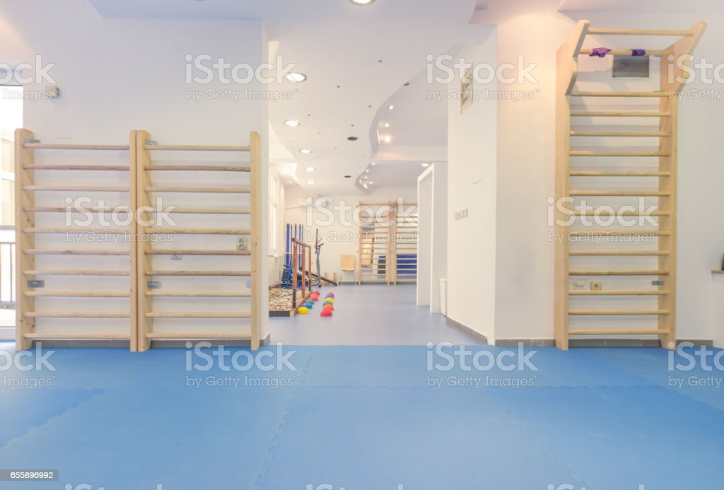 large room interior, no people, physical therapy stock photo