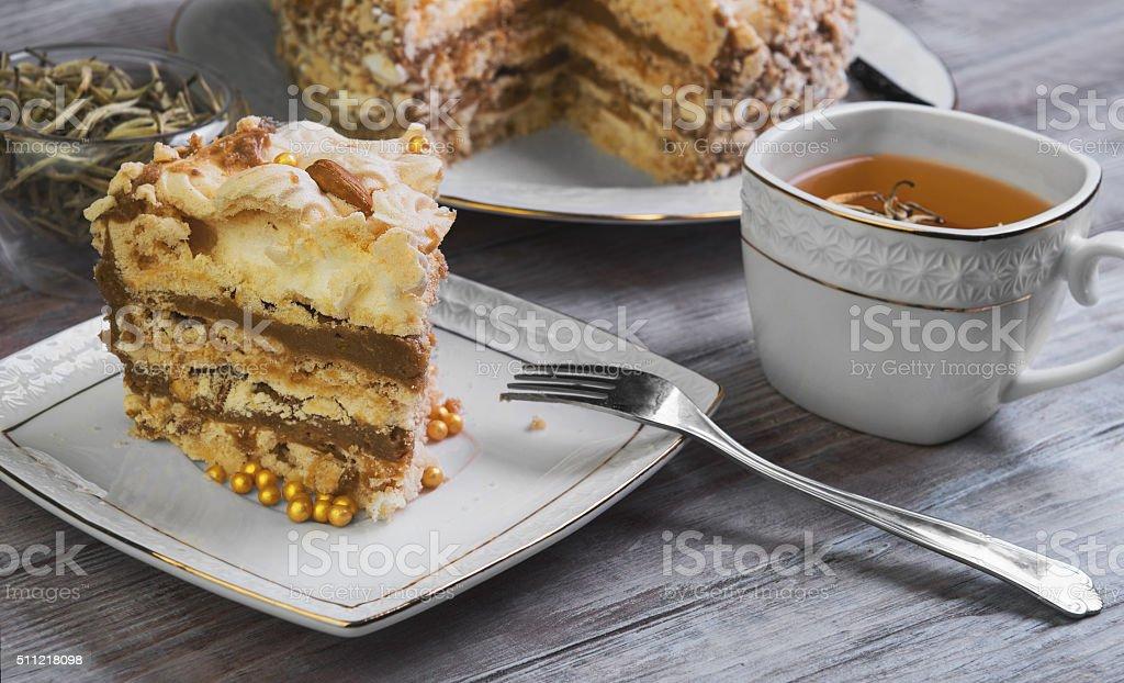 large round cake of meringue stock photo