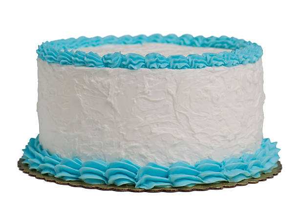 a large round cake with blue and white frosting isolated - birthday cake stock photos and pictures