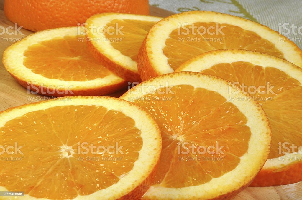 Large round slices of juicy oranges stock photo