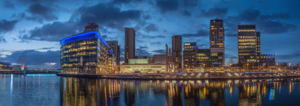 Large Salford Quays Panoramic Image. stock photo