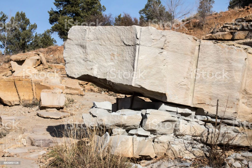 Large sandstone block, blasted from the hillside stock photo