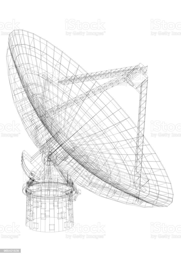 Large satellite dish Architect blueprint - isolated royalty-free stock photo
