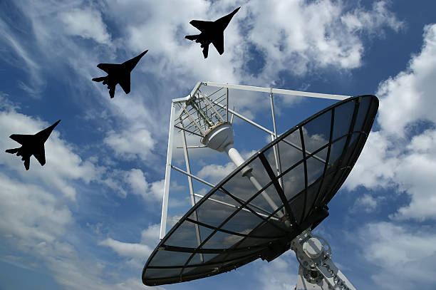 A large satellite radar flown over by three fighter jets Modern Russian radar is designed  and automatic tracking of targets and missiles antiaircraft stock pictures, royalty-free photos & images