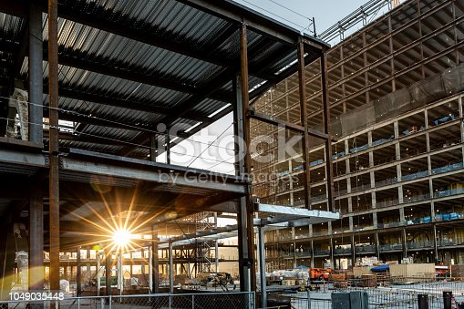 High quality stock photos of a construction site in a city and sunset.