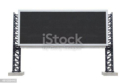 istock Large scoreboard stadium isolated on white background. 491059440