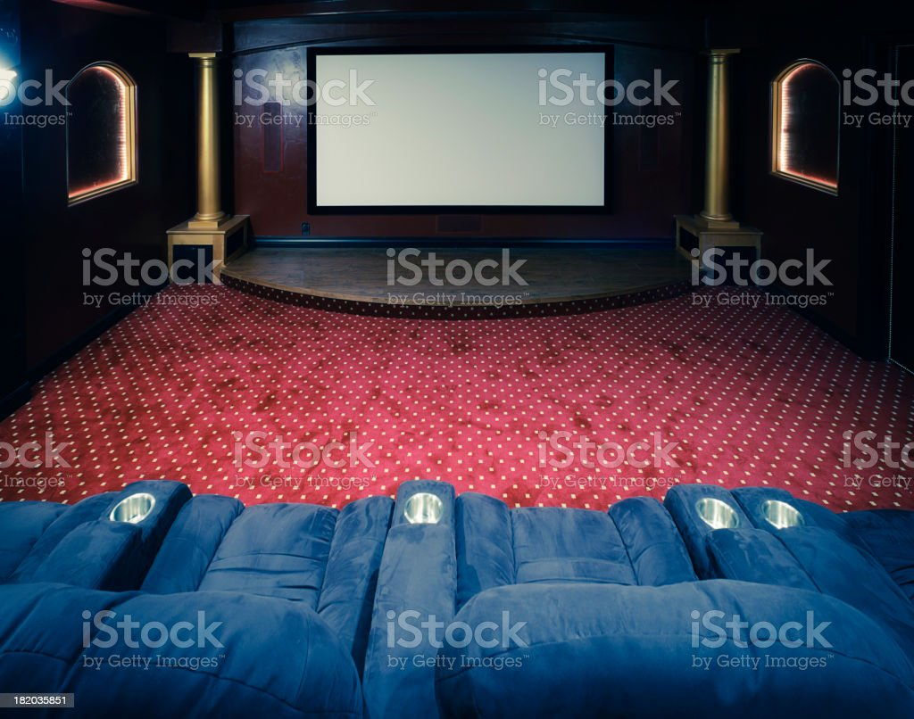 Large Screen Home Theater Room stock photo
