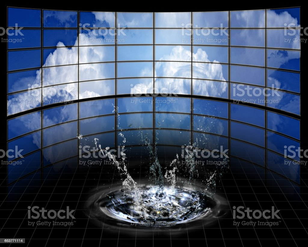 Large Screens with cloud and splash stock photo