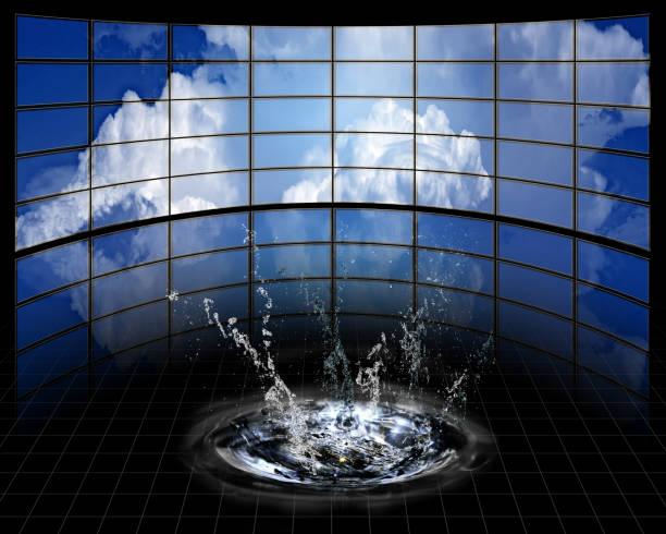 Grandes pantallas con nube y splash - foto de stock