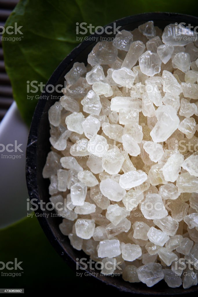 Large Sea Salt Grains in Bowl stock photo