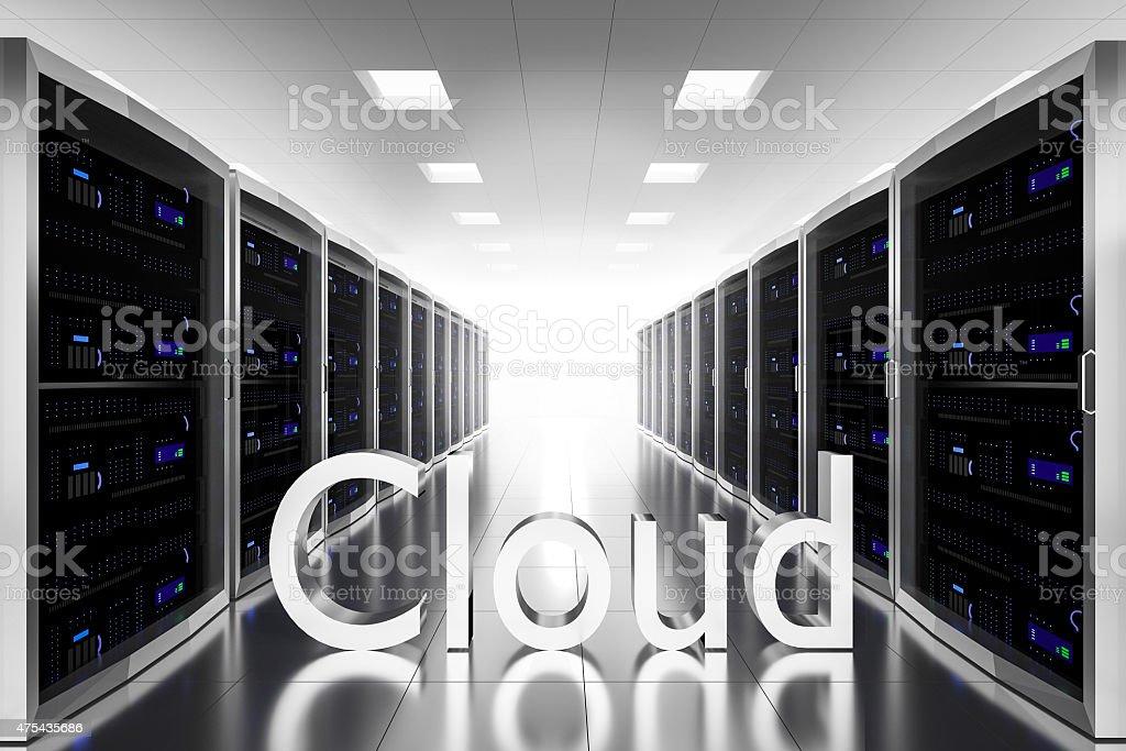 large server room datacenter cloud symbol illustration stock photo