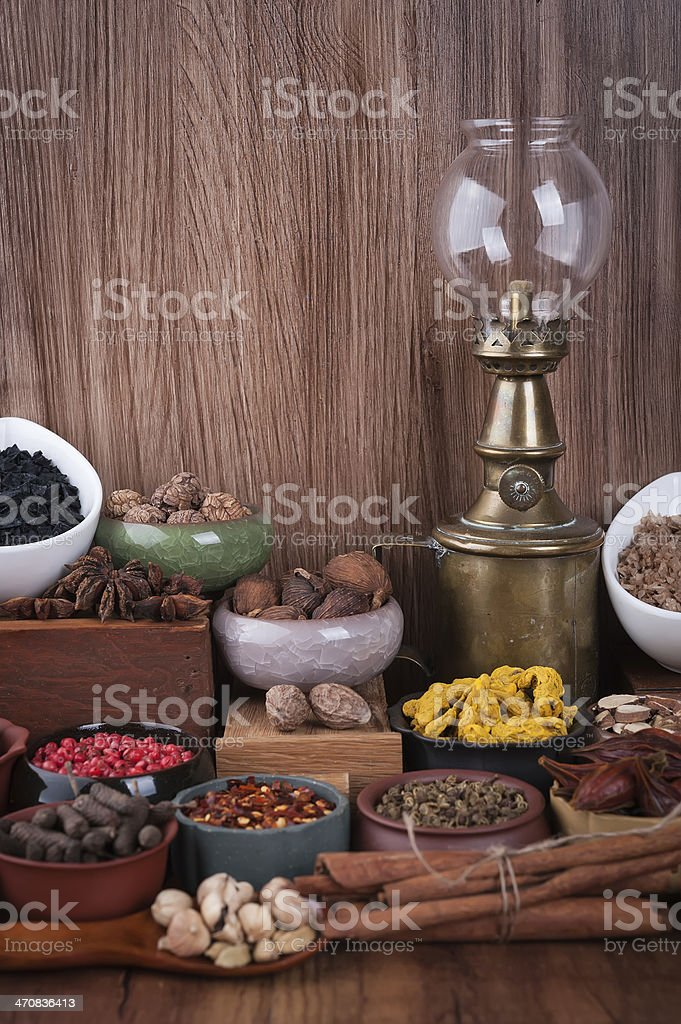 Large set of spices, seasonings and salt royalty-free stock photo