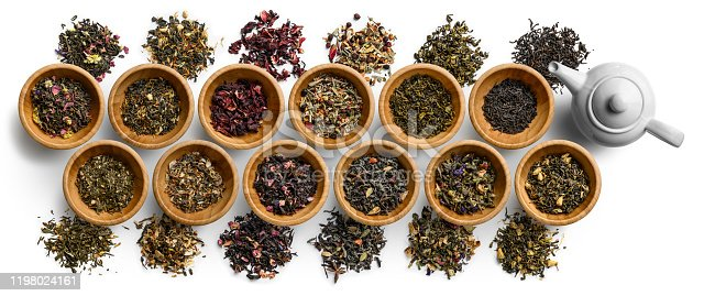 Large set of tea on a white background. The view from the top.