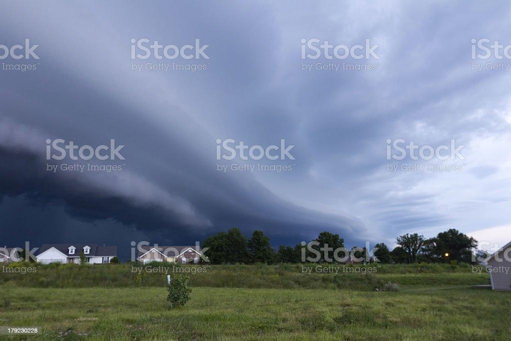 Large Shelf Cloud over Neighborhood stock photo