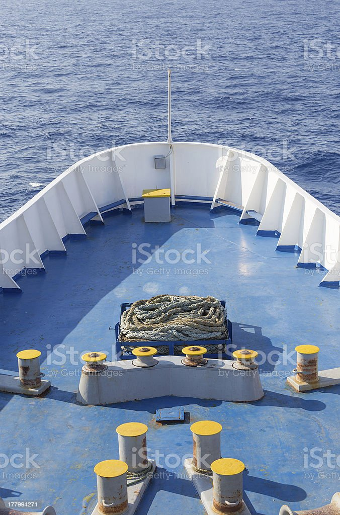 Large ship bow in open sea royalty-free stock photo