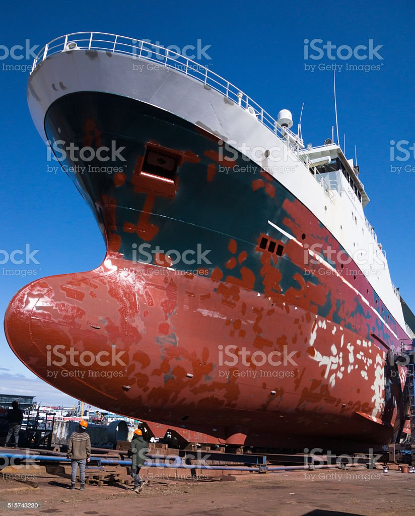 Large ship in dry dock stock photo
