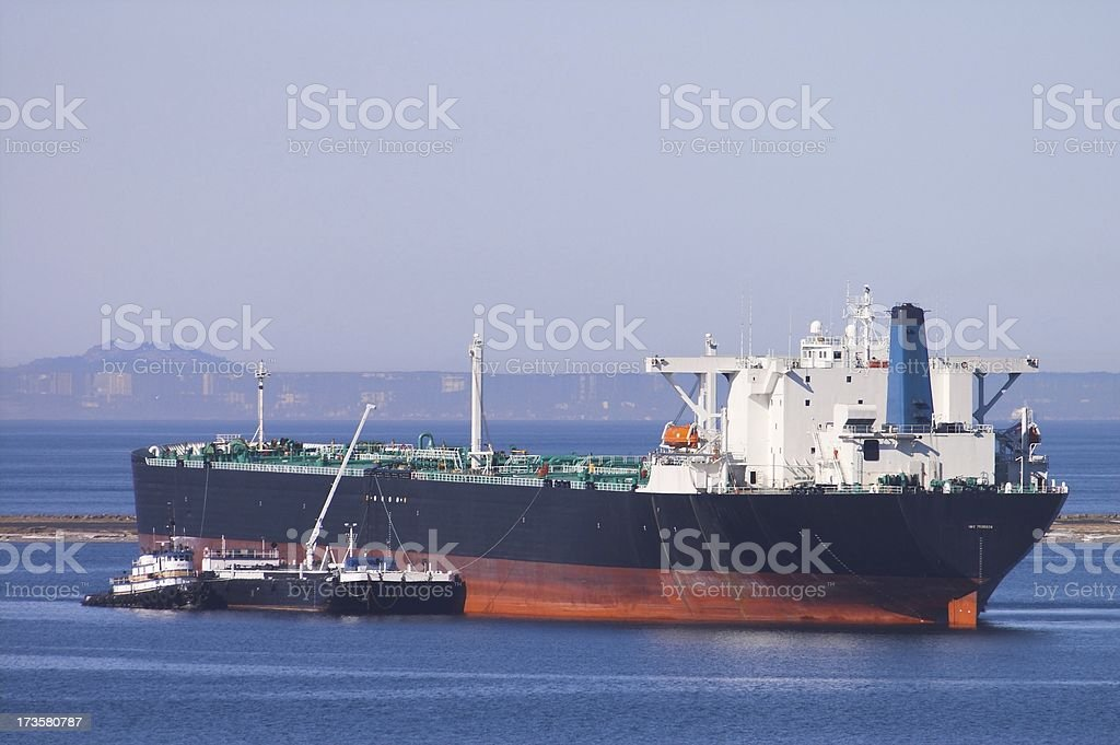 Large ship in harbor stock photo