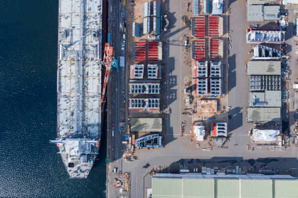 A large ship is being built at the shipyard stock photo
