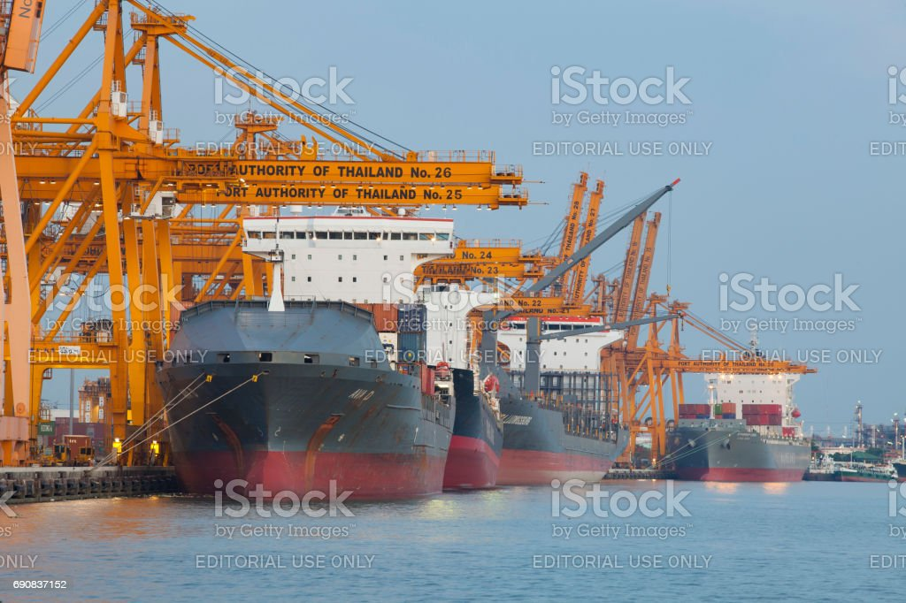 large ship loading container box at klong tuey port in heart of...
