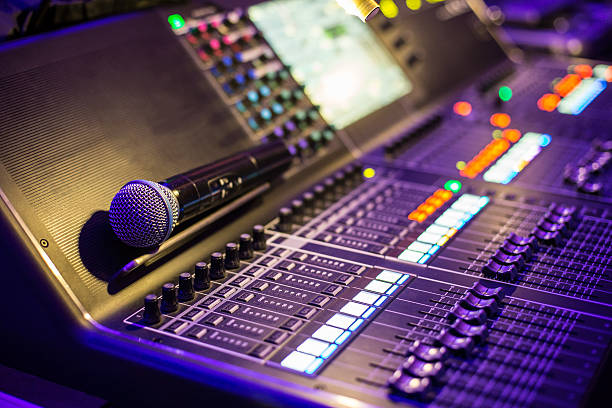 Large show sound controller with microphone stock photo