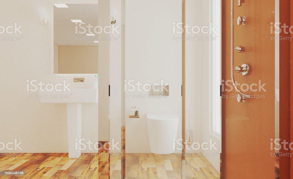 Grosse Dusche Im Badezimmer 3drendering Stockfoto Und Mehr