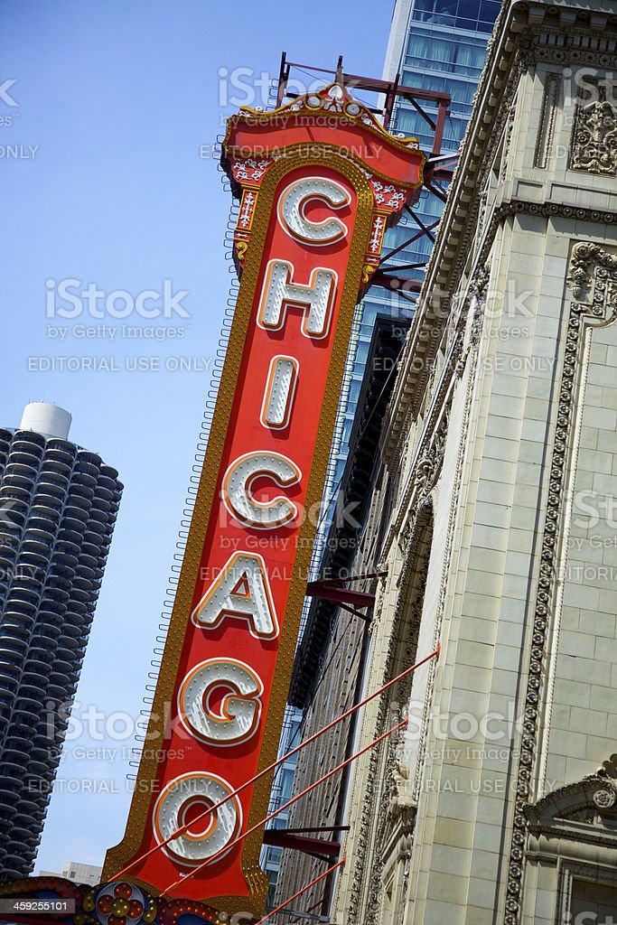 Large sign outside the historic Chicago Theatre royalty-free stock photo