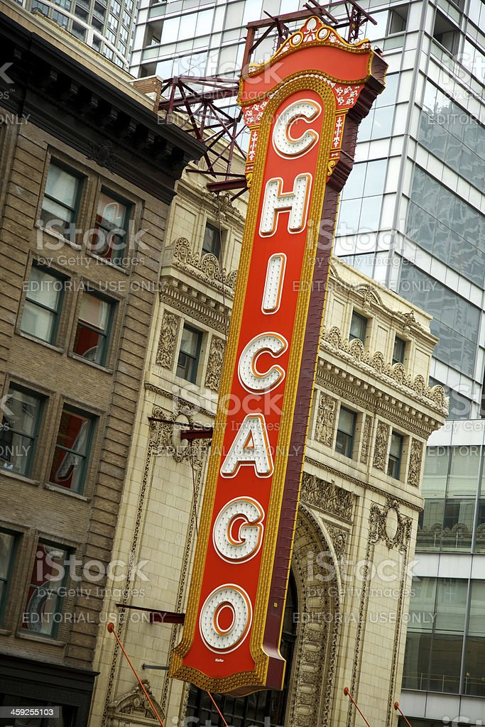 Large sign outside the historic Chicago Theatre stock photo