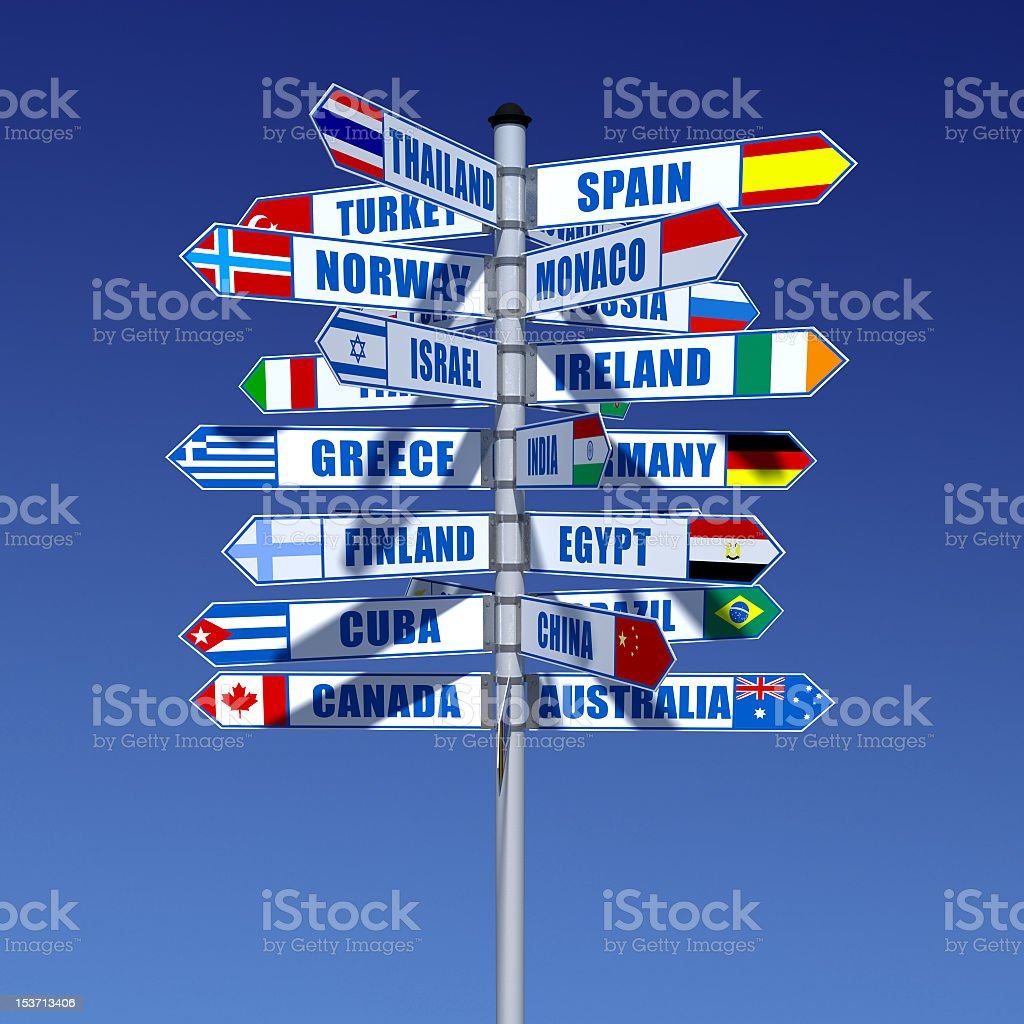 Large signpost with various countries and flags royalty-free stock photo