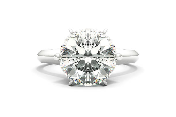Large silver diamond ring on a white background stock photo