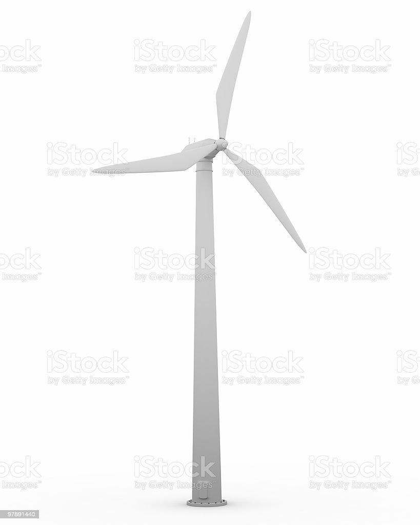 Large singular wind turbine in white royalty-free stock photo