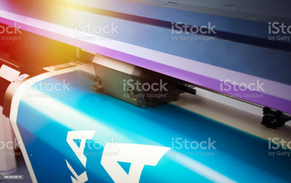 Large size printer printing stock photo