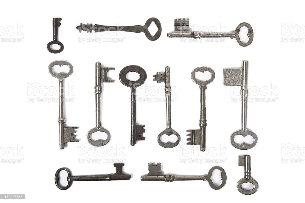 Large Skeleton Keys Isolated on White stock photo