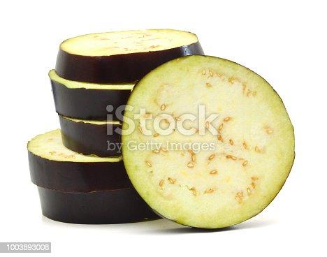 istock Large sliced eggplant on white background 1003893008