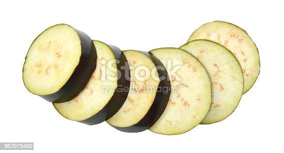 istock Large sliced eggplant on white background 957073450