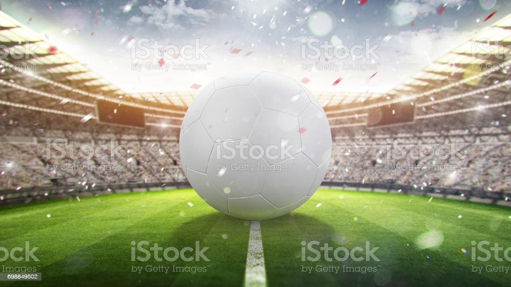 Large soccer ball on a football field. Opening of the championship. 3d render stock photo