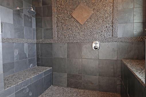 Large Shower with natural stone