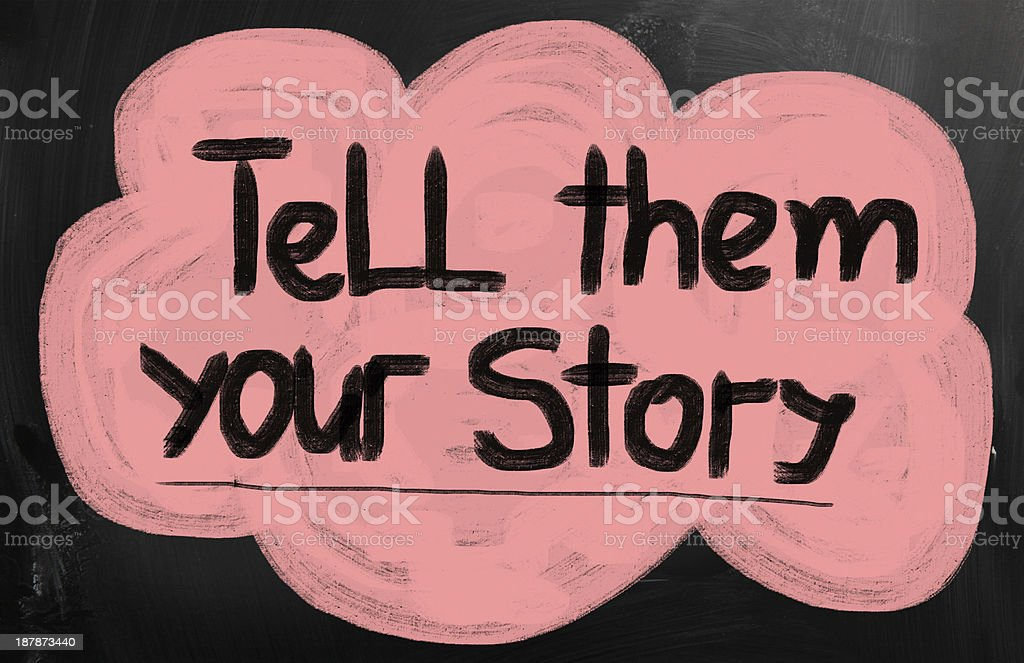 Large speech bubble saying tell them your story royalty-free stock photo