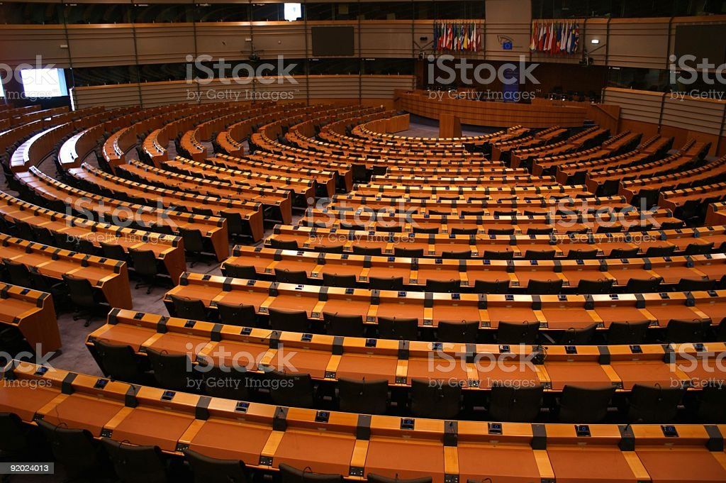 Large spiral assembly room with rows of seating stock photo
