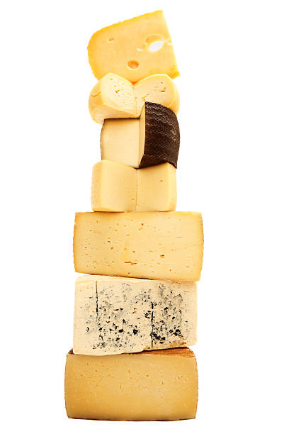 large stack of different pieces of cheese - aluxum stock pictures, royalty-free photos & images