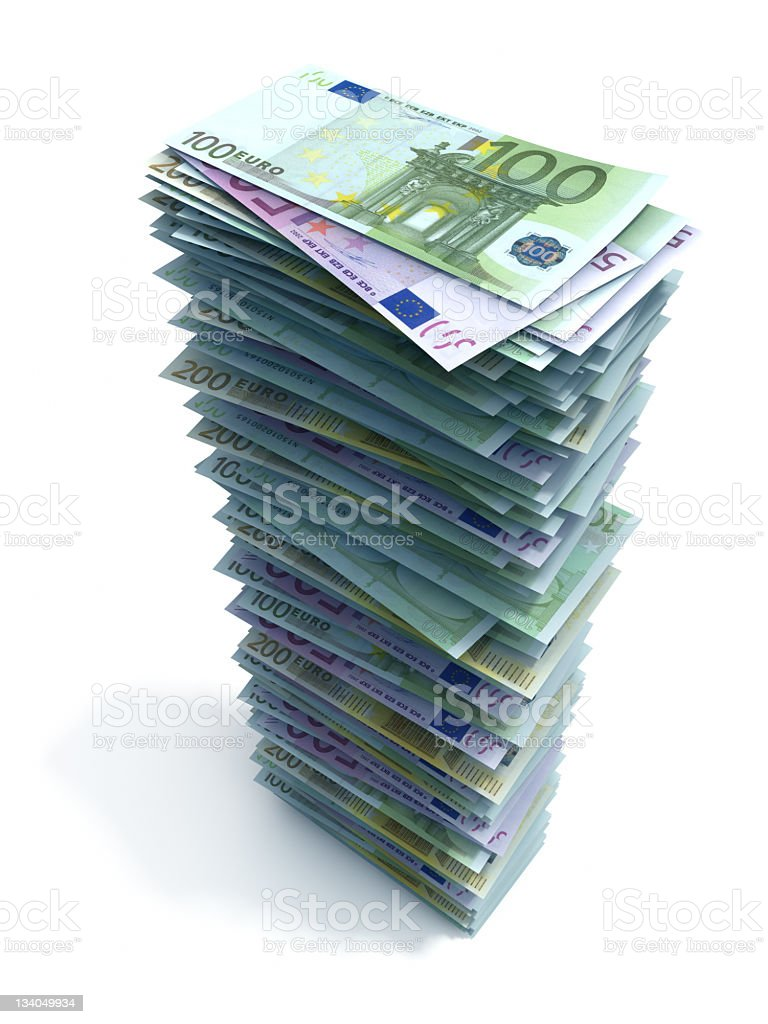 A large stack of euro bills on a white background stock photo