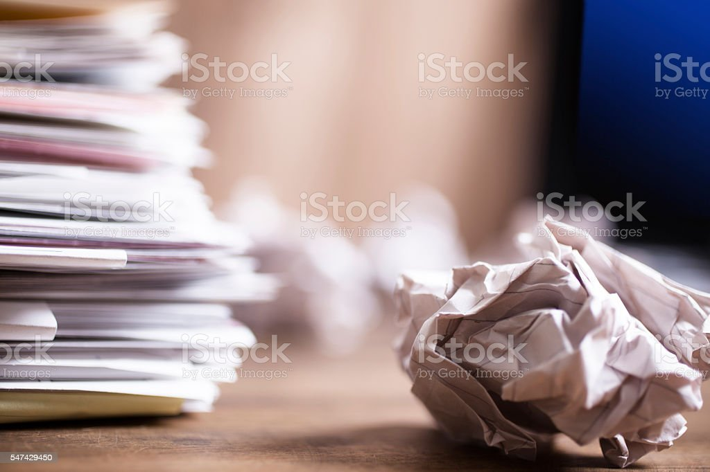Large stack of files, paperwork. Close-up. Desk, office. Nobody. royalty-free stock photo