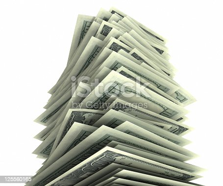 Huge stack of $100 bills. Isolated on white with clipping path. High quality 3D render.