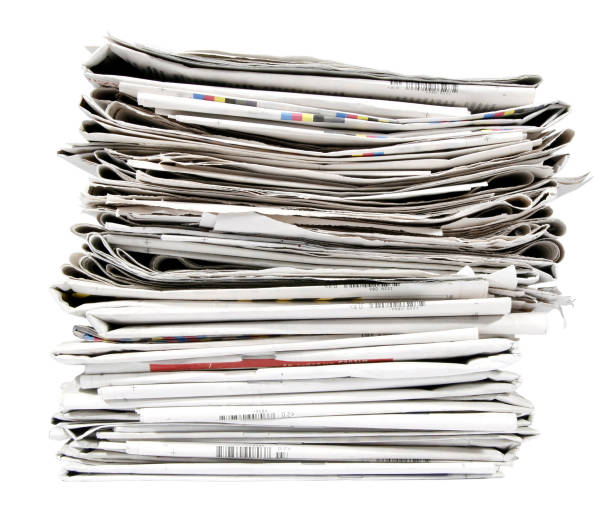 A large Stack of old newspapers stock photo