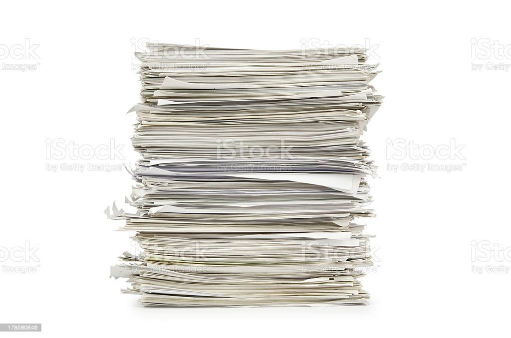 Large Stack Of Papers On A White Background Stock Photo