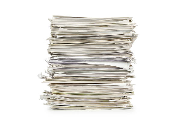 large stack of papers on a white background - hög bildbanksfoton och bilder