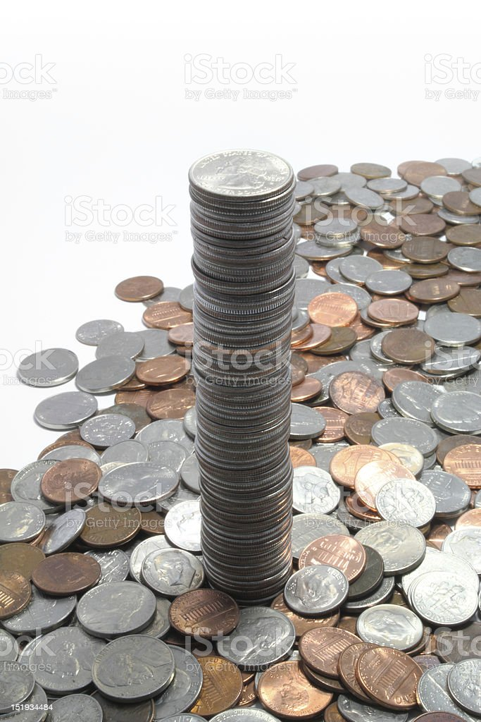 Large stack of quarters stock photo