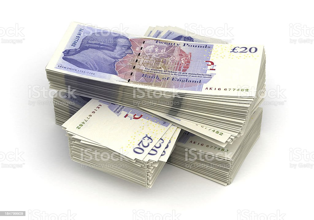 Large stack of twenty pound notes stock photo