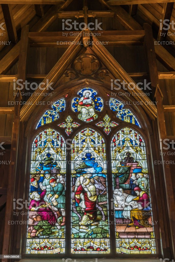Large stain glass window at Old Saint Paul, Wellington. stock photo
